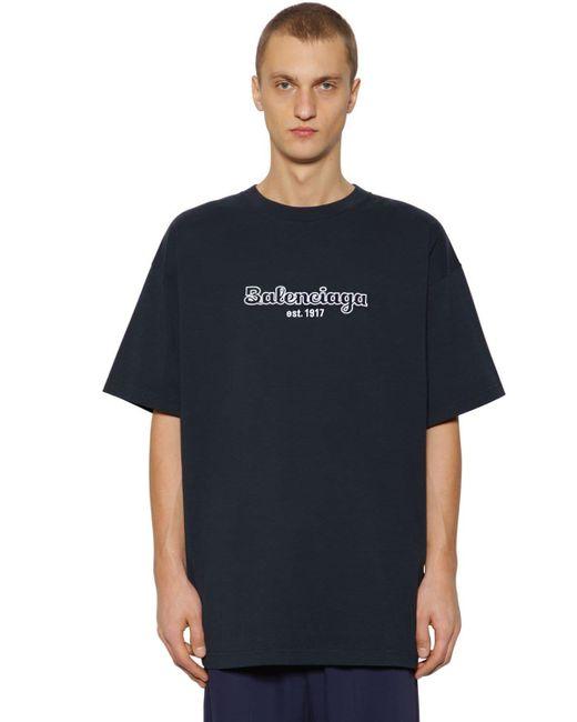 メンズ Balenciaga オーバーサイズ コットンtシャツ Blue