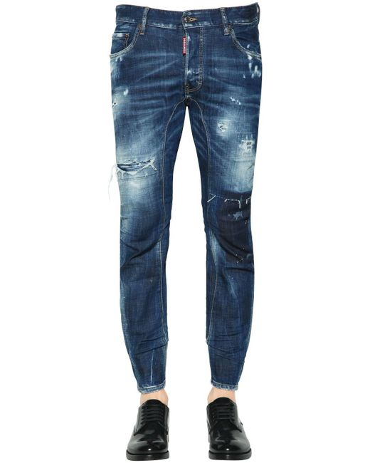 DSquared² Blue 17cm Tidy Biker Destroyed Denim Jeans for men