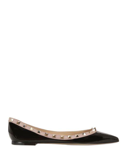 Valentino | Black Rockstud Patent Leather Ballerina Flats | Lyst