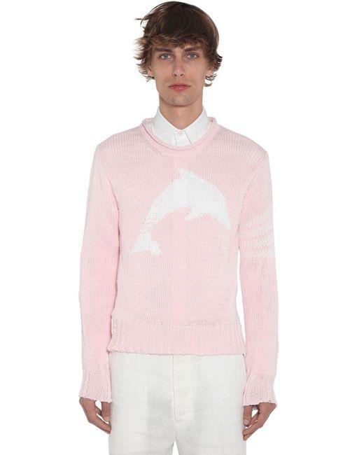 メンズ Thom Browne コットンインターシャニットセーター Pink