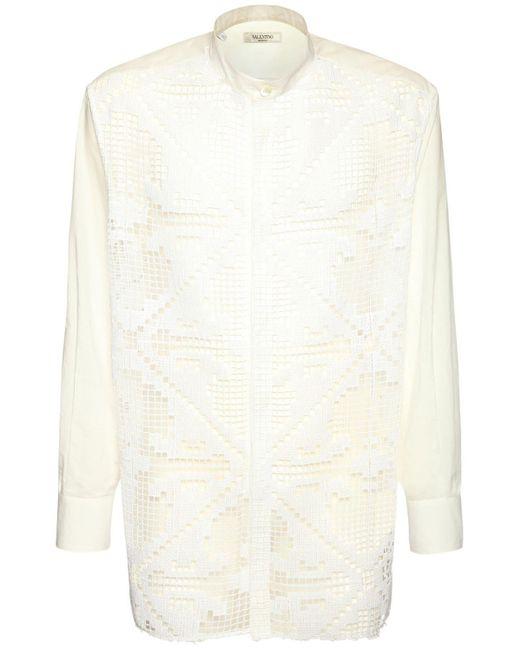 メンズ Valentino マクラメシャツ White