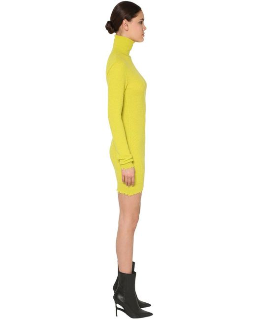 Unravel Project Yellow Kleid Aus Woll/kaschmirstrick