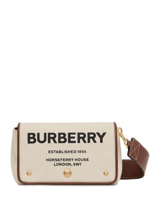 Burberry Natural Hackberry Logo Printed Canvas Bag