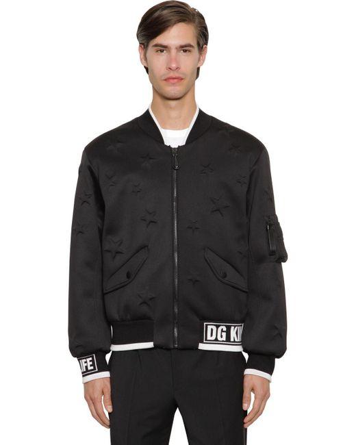 メンズ Dolce & Gabbana Dg King Dg Life ネオプレンボンバージャケット Black