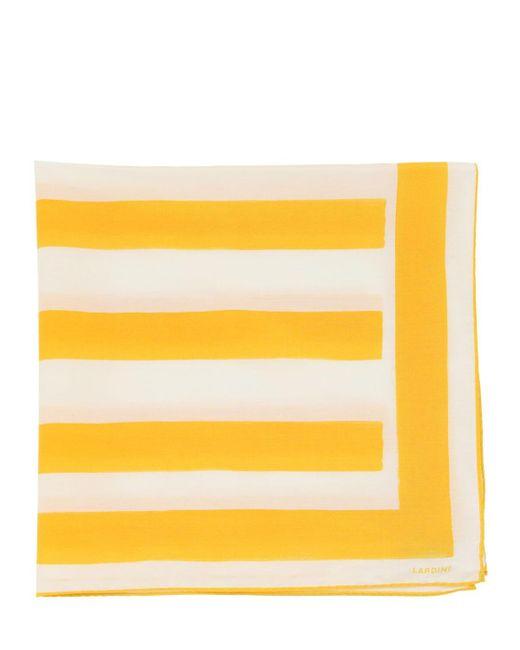 メンズ Lardini シルク&コットン スカーフ Yellow