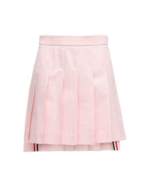 Thom Browne ハイウエストコットンミニスカート Pink
