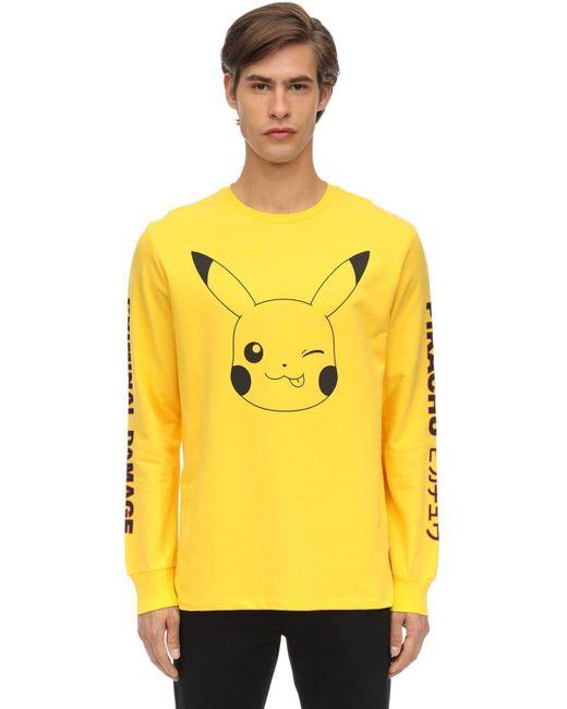 メンズ Criminal Damage Pikachu ジャージー ロングtシャツ Yellow