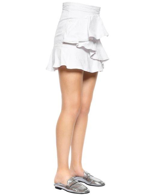 Étoile Isabel Marant コットンデニム フリルスカート White