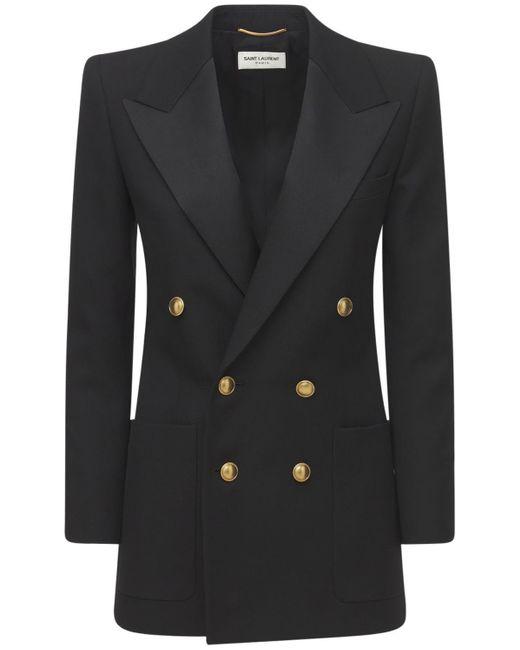 Пиджак Из Органической Шерсти Saint Laurent, цвет: Black