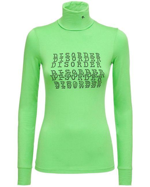 Raf Simons Green Langarm-shirt Aus Stretch-baumwolljersey