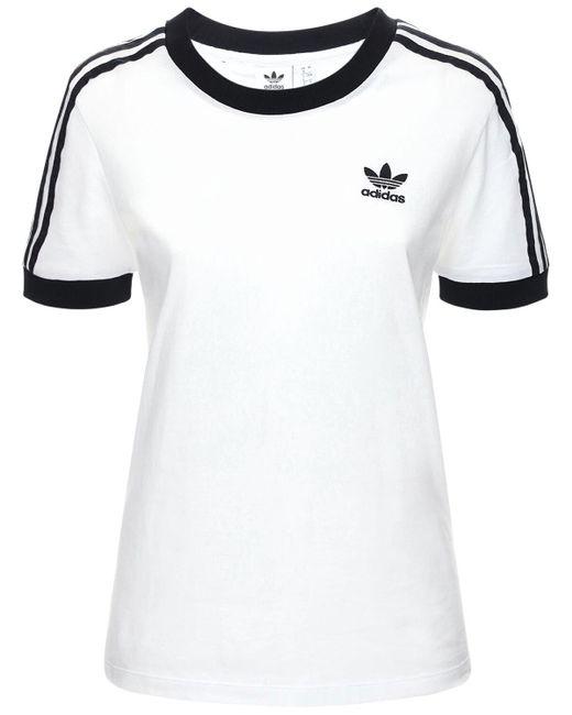 Adidas Originals 3 Stripes コットンtシャツ White