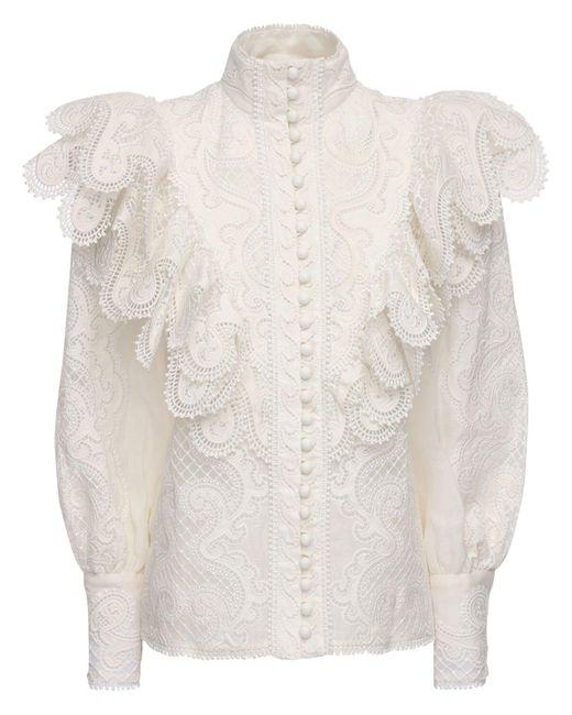 Zimmermann シルク&リネンシャツ White