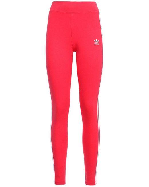 Adidas Originals 3 Stripes コットンレギンス Pink