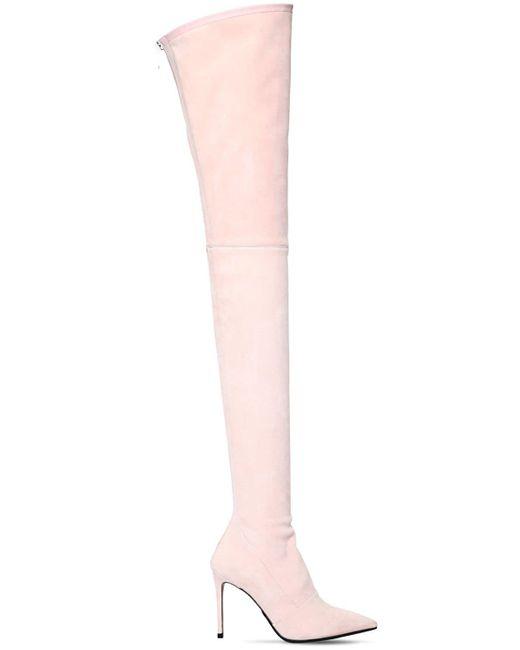 "Cuissardes ""amazone"" En Daim Stretch 100mm Balmain en coloris Pink"