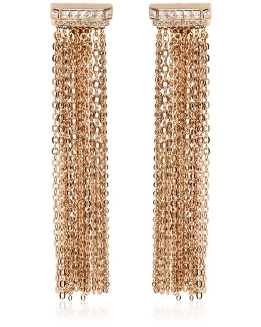 Lanvin - Metallic Chain Fringed Clip-on Earrings - Lyst