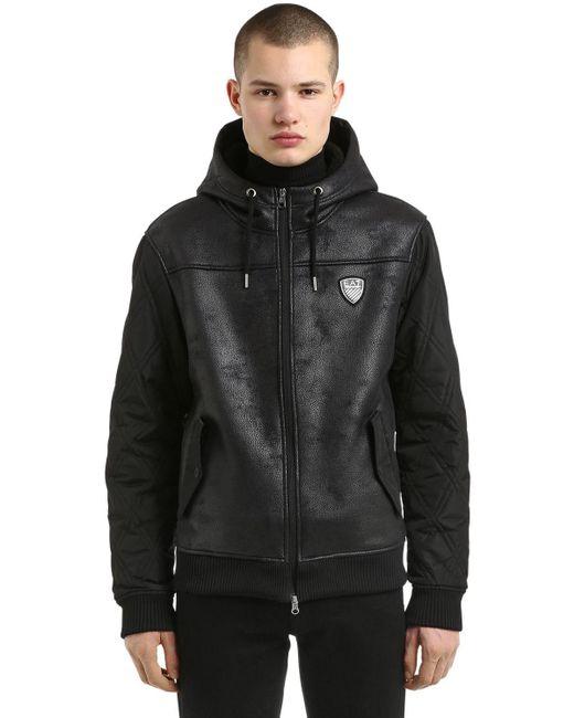 メンズ EA7 フェイクシアリング&ナイロン フード付きジャケット Black