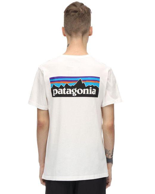 メンズ Patagonia P-6 ロゴプリント オーガニックコットンtシャツ Blue