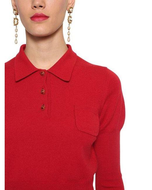 Dolce & Gabbana カシミア ポロセーター Red