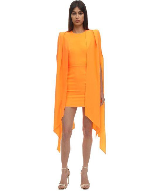 Платье Из Атласного Крепа С Накидкой Alex Perry, цвет: Orange