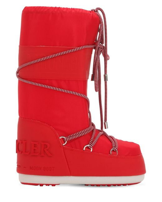 Moncler Red Saturne Moon Boots High for men
