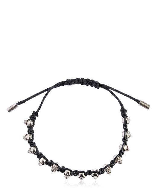 Alexander McQueen - Black Skulls Leather Cord Bracelet for Men - Lyst