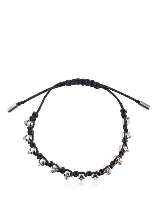 Alexander McQueen - Black Skulls Leather Cord Bracelet - Lyst