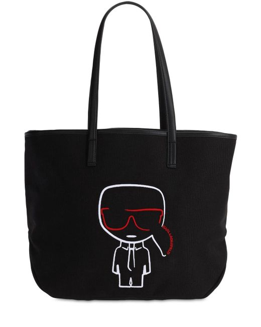 Karl Lagerfeld Ikonik コットンキャンバストートバッグ Black