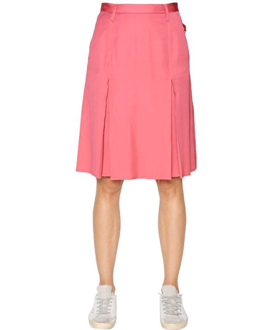 Golden Goose Deluxe Brand | Pink Pleated Viscose Skirt | Lyst