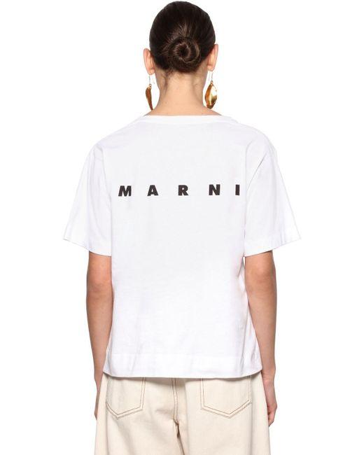 Marni White Bedrucktes T-shirt Aus Baumwolljersey