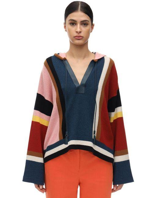 Ferragamo フード付きカシミア&コットンセーター Multicolor
