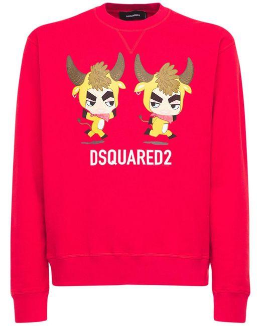 """DSquared² Sweatshirt: Aus Baumwolljersey """"year Of The Ox"""" in Red für Herren"""