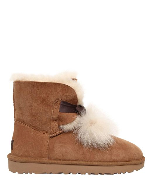 Ugg | Brown Gita Shearling Boots W/ Pompoms | Lyst