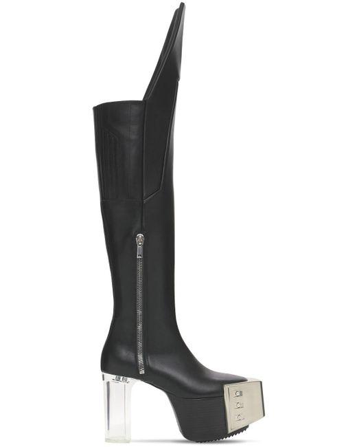 Ботинки Из Кожи На Платформе 120мм Rick Owens, цвет: Black