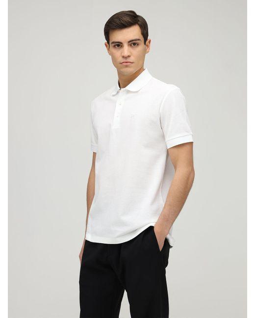 メンズ Burberry コットンピケポロシャツ White