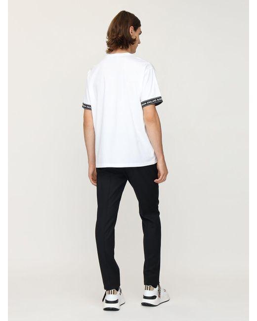 メンズ Burberry コットンジャージー ロングtシャツ White