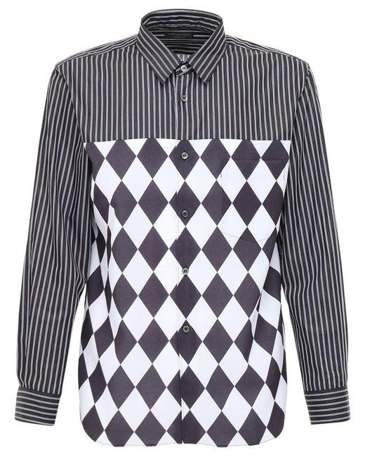 メンズ Comme des Garçons パッチワーク コットンポプリンシャツ Black