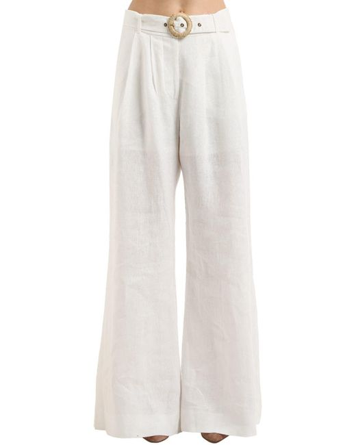 Zimmermann - White High Waist Wide Leg Linen Pants - Lyst
