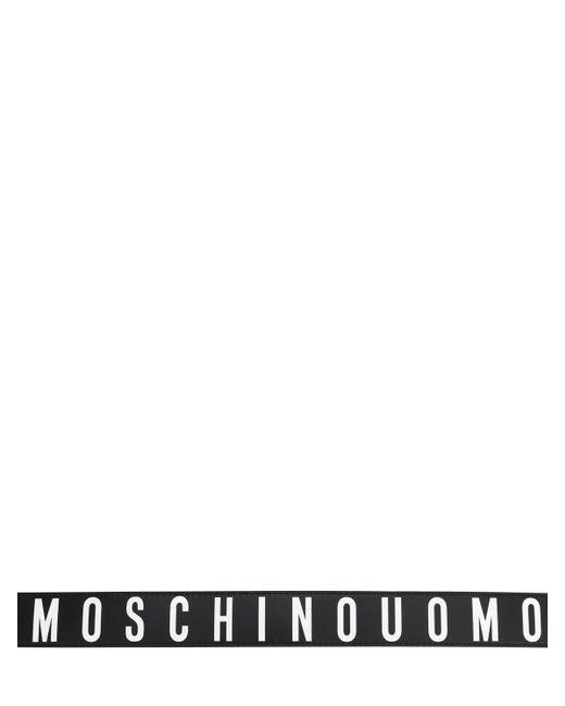 メンズ Moschino レザーベルト 4cm Black