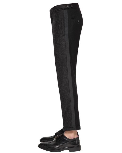 Thom Browne - Gray Skinny Unconstructed Low Rise Wool Pants for Men - Lyst