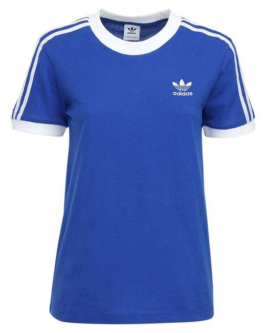 Adidas Originals 3 Stripes コットンtシャツ Blue