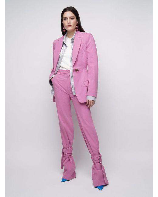 Pantaloni In Tela Di Cotone di The Attico in Pink