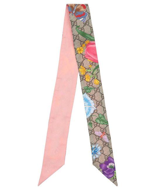 Шёлковый Шарф С Принтом Gucci, цвет: Pink