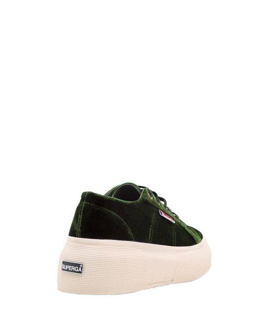 1d5661abfe0 ... Superga - Green Lvr Editions Velvet Platform Sneakers - Lyst ...