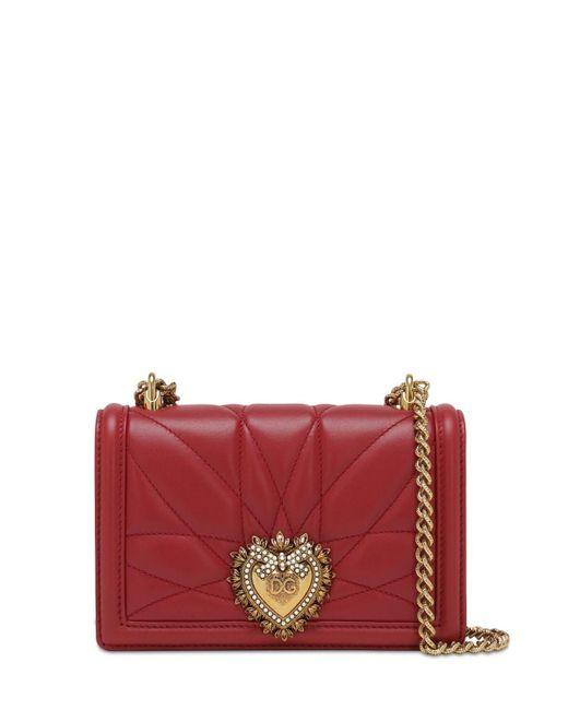 Dolce & Gabbana Devotion レザーショルダーバッグ Red
