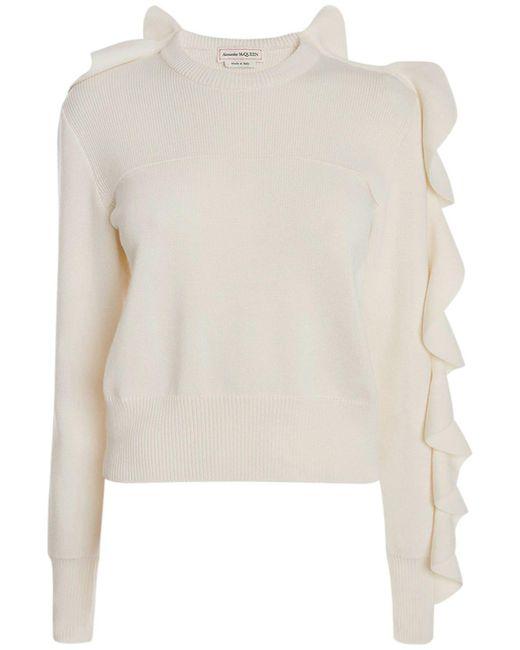 Свитер Из Шерстяного И Хлопкового Трикотажа Alexander McQueen, цвет: White