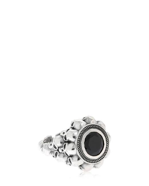 Cantini Mc Firenze - Metallic Black Round 3d Skulls Ring for Men - Lyst