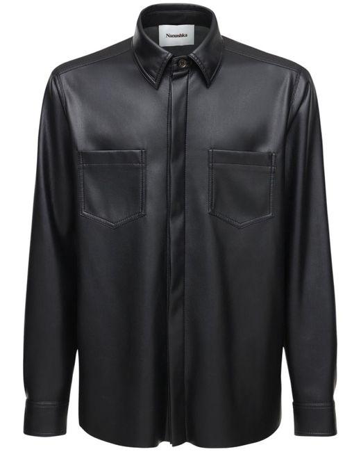 メンズ Nanushka エコレザーシャツ Black