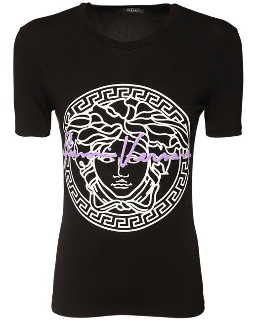 Versace ストレッチビスコースジャージーtシャツ Black