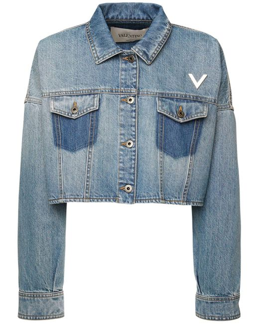 Veste Courte En Denim De Coton Valentino en coloris Blue