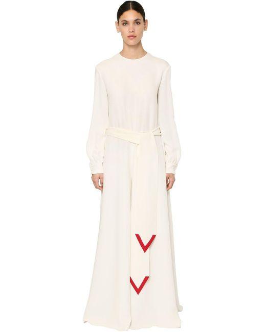 Valentino Coutureシルクカディジャンプスーツ White